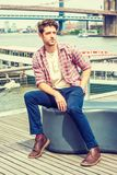 Young American man traveling, relaxing in New York Royalty Free Stock Images