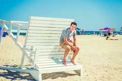 Free Young American Man Traveling, Relaxing On The Beach In New Jersey. Royalty Free Stock Images - 94348829