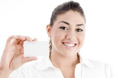Young american model displaying business card Stock Images