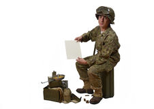 Young American soldier shows a letter Royalty Free Stock Photography