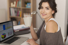 Young analyst working at home Stock Photo