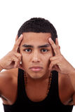 Young And Handsome Latin Man, Hands Holding Face Stock Images