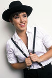 Young Androgynous Woman Stands Wearing Hat Suspenders White Background Royalty Free Stock Photography