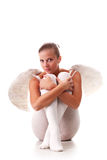 Young angel. Young beautiful naked woman with white wings Stock Image