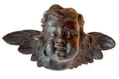 Young angel in sculpture in wood. Young angel carving sculpted in wood Stock Photo