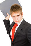 The young angry businessman. Whit he's laptop Stock Photo