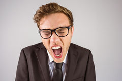 Young angry businessman shouting at camera Stock Photography