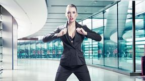 Young angry businesswoman Stock Photo