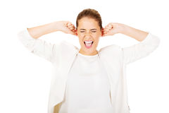 Young angry businesswoman- screaming Stock Photography