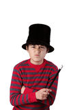 Young angry magician boy Stock Photos