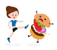 Young angry sport fitness shapely woman. Kick burger.Vector modern flat style cartoon character illustration. Isolated on white background.healthy eating Stock Photo