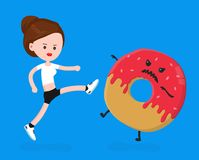 Young angry sport fitness shapely woman. Kick donut.Vector modern flat style cartoon character illustration. Isolated on white background.healthy eating Stock Photos