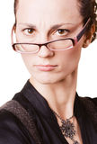 Young angry woman. In glasses on white background Stock Photo