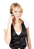 Young angry woman calling by phone Royalty Free Stock Images