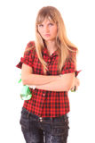 Young angry woman with cleaning supplies Royalty Free Stock Photos