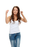 Young angry woman with fist up stock photo