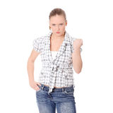 Young angry woman with fist up Stock Photography