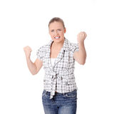 Young angry woman with fist up Royalty Free Stock Photo