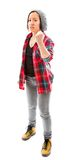 Young angry woman with fist up isolated on white Royalty Free Stock Photo