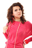 Young angry woman guarded look Stock Photo