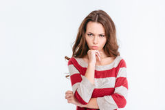 Young angry woman looking at camera Royalty Free Stock Photos