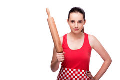 The young angry woman with rolling pin isolated on white Royalty Free Stock Images