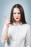 Young angry woman threaten finger Royalty Free Stock Image