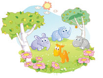 Young animals cartoon at the flower garden Stock Photo