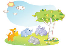 Young animals cartoon with garden background Stock Photos