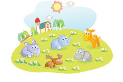 Young animals cartoon in the home garden Royalty Free Stock Photography