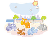 Young animals cartoon at the park Royalty Free Stock Photos