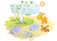 Young animals cartoon posing in the street garden Stock Image