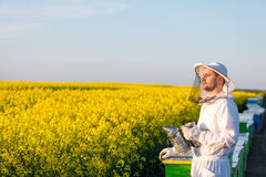 Young apiarist gesturing thumb up. Young proud apiarist holding a smoker on a rapeseed field and looking into the sun. Selective focus, narrow depth of field Stock Photography