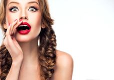 Young appealing model is attracting attention of audience. Royalty Free Stock Photo