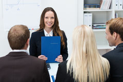 Young applicant at a job interview Stock Images