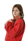 Young apprentice in coverall with crescent wrench. Young female apprentice in red coverall with crescent wrench isolated on white royalty free stock photos