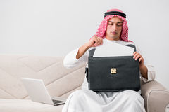 The young arab businessman in business concept Stock Photos