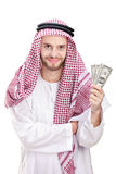 Young Arab businessman holding US dollars. Isolated on white background royalty free stock photos