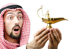 Young arab with lamp Royalty Free Stock Photo