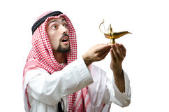 Young arab with lamp Stock Photography