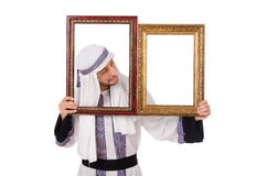 Young arab with picture frame Stock Photos