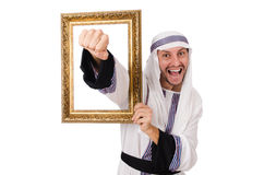 Young arab with picture frame Stock Photography