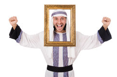 Young arab with picture frame Royalty Free Stock Photo