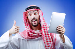 Young arab with tablet computer Royalty Free Stock Photos