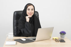 Young Arabian Businesswoman working in the office.  Royalty Free Stock Photo