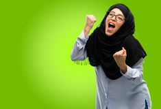 Young arabian woman wearing hijab isolated over green background. Young arab woman wearing hijab happy and excited celebrating victory expressing big success Royalty Free Stock Photo