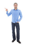 Young arabic business man in blue shirt showing on something iso Royalty Free Stock Images