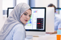 Young Arabic business woman wearing hijab,working in her startup. Office Stock Image