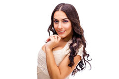 Young arabic woman in white sexy dress. Close up face. Young arabic woman in white sexy dress,  on gray background Royalty Free Stock Photo