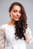 Young arabic woman in white dress royalty free stock images